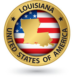 Louisiana state gold label with state map vector image