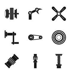 Machinery gear icon set simple style vector