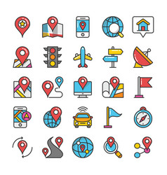 maps and navigation colored icons set 1 vector image