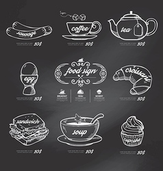 menu icons doodle drawn on chalkboard background vector image