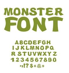 Monster font Green Swamp letters Horrible alphabet vector image