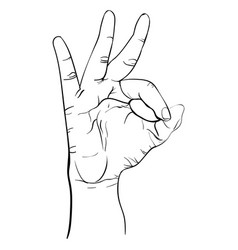 ok gesture line art drawing ink pen hand vector image