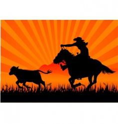 Riding cowboy vector