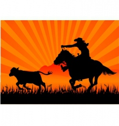 riding cowboy vector image vector image