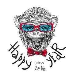 Sketch portret of monkey vector