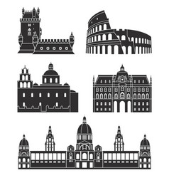 Southern europe european buildings on white vector