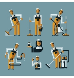 Vacuum cleaner worker icons vector