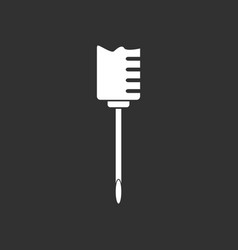 White icon on black background medical syringe vector