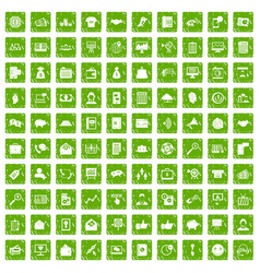 100 viral marketing icons set grunge green vector image