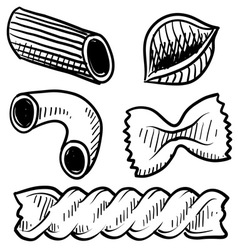 doodle pasta vector image