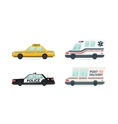 Set of cartoon ambulance police delivery and vector
