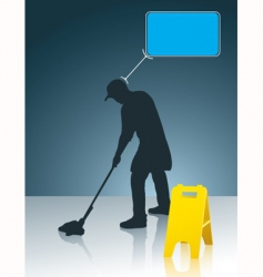 Wet floor cleaner vector