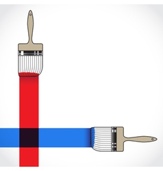 Paintbrush crossing over another brush in painting vector