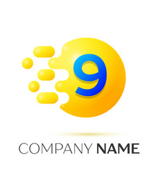 number nine splash yellow dots and bubbles number vector image