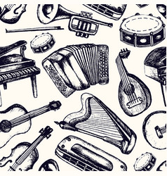 Musical instruments - one color hand drawn vector