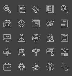Employment line icons vector