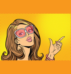 Beautiful woman in sunglasses hold hand gesture vector