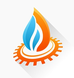 Symbol fire with gear orange and blue flame glass vector