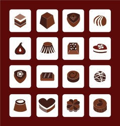 Set icons of chocolate icons - vector