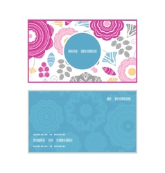 Vibrant floral scaterred vertical round frame vector