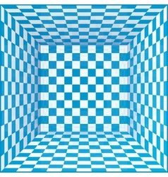 Blue and white chessboard walls room background vector