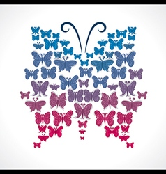 Group of butterfly make big butterfly shape vector