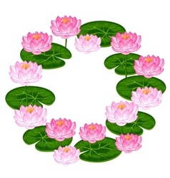 Natural frame with lotus flowers and leaves image vector