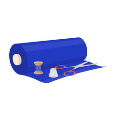 A roll of sewing fabric scissors a thimble and a vector
