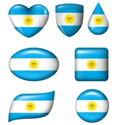 Argentina flag in various shape glossy button vector image vector image