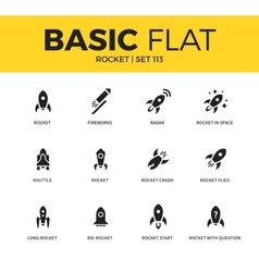 Basic set of Rocket icons vector image
