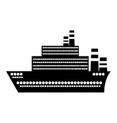 Black silhouette big cruise ship design flat icon vector