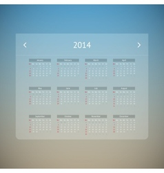 Calendar page for 2014 vector image