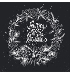 Christmas greeting card with citrusspicechalk vector
