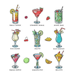 Cocktail alcohol beverage drinking vector