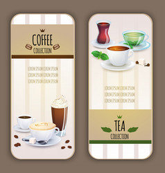Coffee and tea collection labels vector