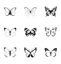 Creatures butterflies icons set simple style vector
