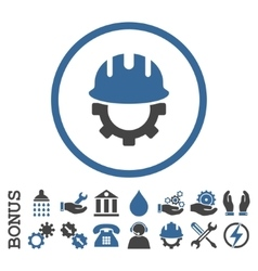 Development hardhat flat rounded icon with vector