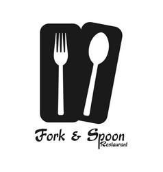 Fork spoon restaurant logo white background vector