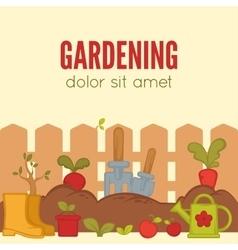 Gardening Concept Tools for working in garden vector image