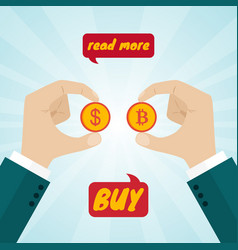 hands giving coin money for bitcoins vector image vector image