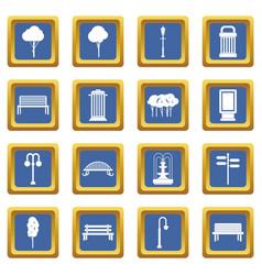 Hangar icons set blue vector