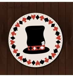 Hatter hat - drink coaster from wonderland vector