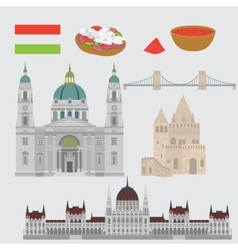 Hungarian City sights in Budapest Hungary vector image vector image