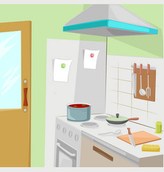 Kitchen with furniture cozy kitchen interior vector