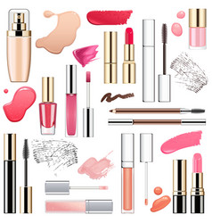 Makeup cosmetics with smears vector