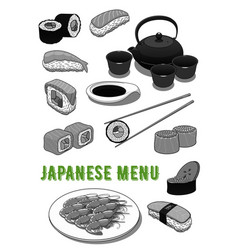 Seafood sushi rolls for japanese menu vector