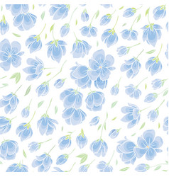 Seamless background pattern - blue sakura blossom vector