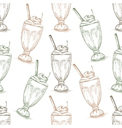 Seamless pattern cherry milkshake scetch vector image
