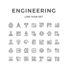 Set line icons of engineering vector