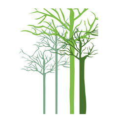 Silhouette with trees without leafs vector